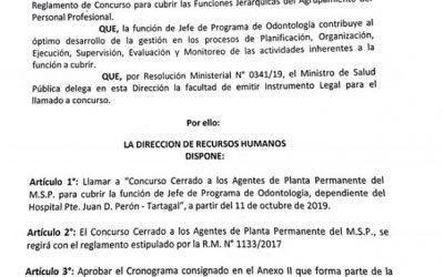 Concurso Cerrado – Jefe Programa de Odontología Hospital Pdte. D. Perón – Tartagal