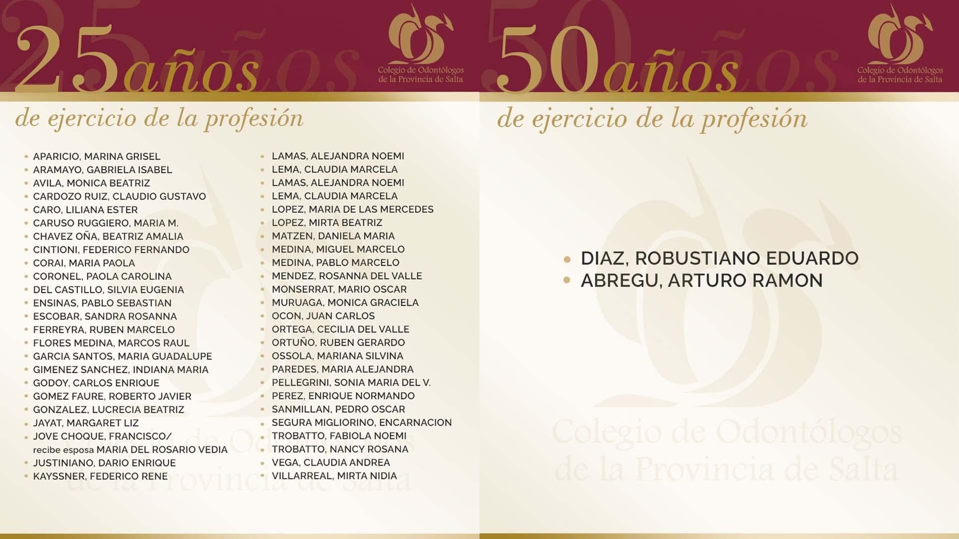 Acto de reconocimiento a profesionales que cumplieron 25 y 50 años en el ejercicio de la profesión